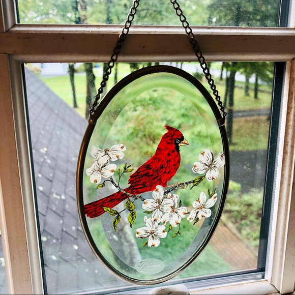 SOLD. Vintage Lyford Suncatcher Red Cardinal Beveled Glass Made in USA